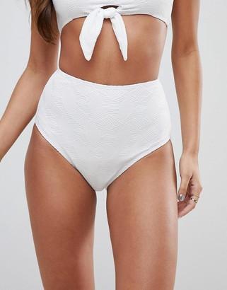 Asos Design DESIGN Mix and Match Crochet High Waist Bikini Bottom-White