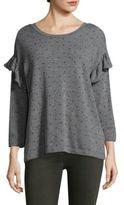 Current/Elliott Printed Ruffle Cotton Sweatshirt