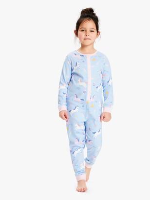 John Lewis & Partners Girls' Space Unicorn Onesie, Blue