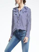 Banana Republic Easy Care Stripe Flutter Shirt