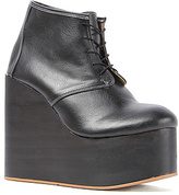 Olga Deandri The Boot in Black Smooth on Black Wood