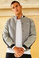 BoohoomanBoohooMAN Mens Grey Wool Look Smart Bomber Jacket With Embroidery, Grey