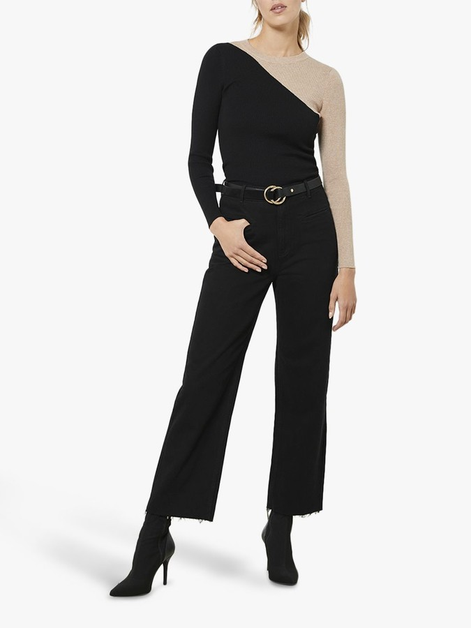 Mint Velvet Colour Block Jumper, Black/Beige
