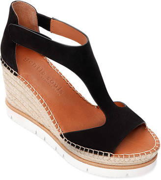 Gentle Souls By Kenneth Cole Elyssa Easy T-Strap Leather Wedge