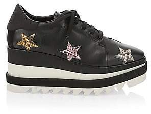 Stella McCartney Women's Sneak-Elyse Python-Print Star Platform Wedge Sneakers
