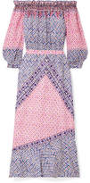 Saloni Grace Off-the-shoulder Printed Silk Crepe De Chine Midi Dress - Purple