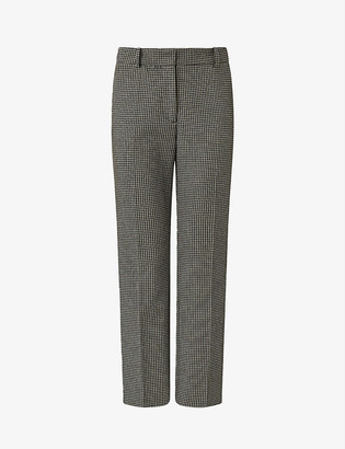 Joseph Coleman checked slim high-rise stretch-gabardine trousers