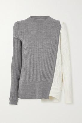 Sacai Cutout Paneled Ribbed And Cable-knit Wool Sweater - Gray