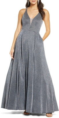 Sequin Hearts Sparkle Plunging Strappy Ballgown