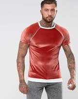 Asos Muscle T-Shirt In Velour With Rib Hem And Piping