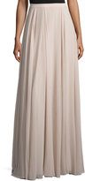 Halston Flowy Gathered Maxi Skirt, Beige