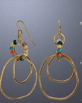gold and CZ organic hoop earrings