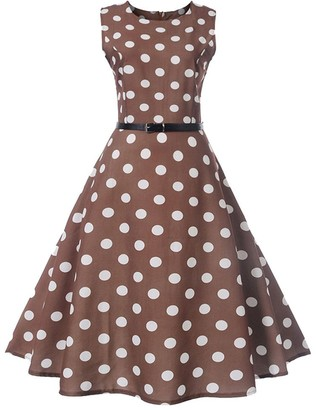 HOOUDO Dresses Women Vintage 50's Retro Dot Printing Sleeveless Casual Evening Party Prom Swing Dresses for Women(X-Large
