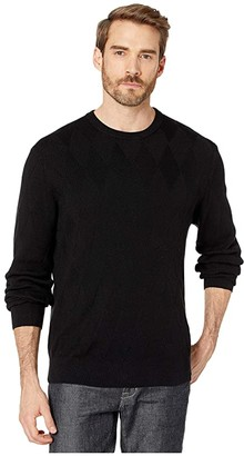 Perry Ellis Argyle Print Long Sleeve Sweater (Black) Men's Clothing