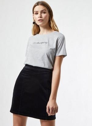 Dorothy Perkins Womens Black Velvet Skirt, Black