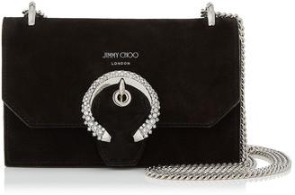 Jimmy Choo PARIS Black Suede Mini Bag with Crystal Buckle