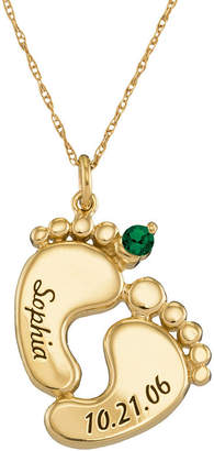 FINE JEWELRY Personalized 10K Gold Name, Date and Birthstone Footprints Pendant Necklace