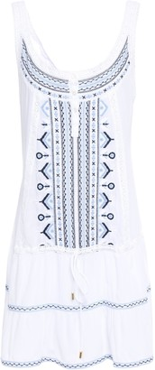 Melissa Odabash Jaz Crochet-trimmed Embroidered Woven Mini Dress