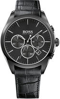 HUGO BOSS Onyx Black IP Stainless Steel Black Leather Strap Chronograph, 1513367