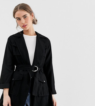 New Look belted shacket in black