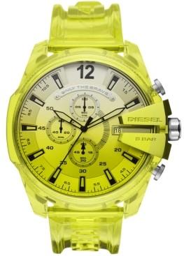 Diesel Men's Chronograph MegaChief Transparent Yellow Polyurethane Strap Watch 51mm
