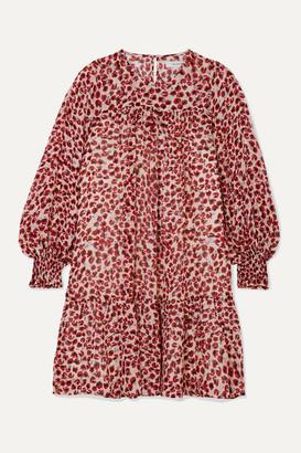 MUNTHE Joelle Leopard-print Metallic Fil Coupe Chiffon Mini Dress - Red