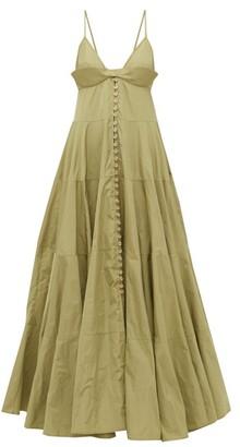 Jacquemus Manosque Bustier-panel Tiered Maxi Dress - Green