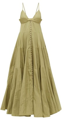 Jacquemus Manosque Bustier-panel Tiered Maxi Dress - Womens - Green