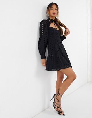 ASOS DESIGN broderie tie neck skater mini dress in black