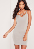 Missguided Cross Front Slinky Bodycon Dress Silver