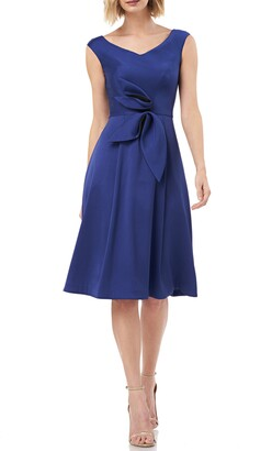 Kay Unger Sleeveless Stretch Mikado Fit & Flare Dress