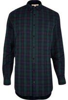 River Island MensGreen longline check shirt