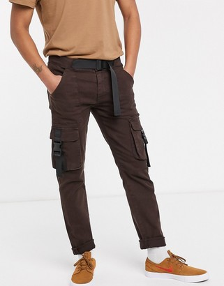 Asos Design DESIGN slim jeans with cargo pocket and techy waist belt in brown