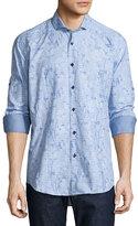 Bogosse Floral Check Long-Sleeve Sport Shirt, Light Blue