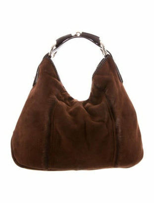 Gucci Suede Shearling Large Horsebit Hobo Brown