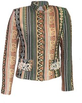 Womens Short Jacket With Pearl Embroidery Green
