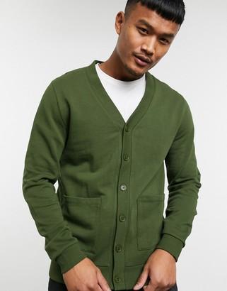 ASOS DESIGN jersey cardigan in dark green