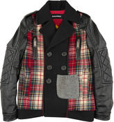 DSQUARED2 Tartan woollen cloth jacket with black imitation leather sleeves