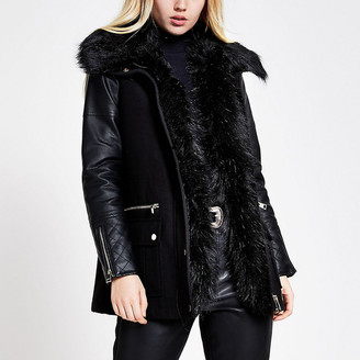 River Island Black PU sleeve parka jacket