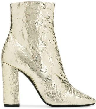 Saint Laurent Lou foil effect ankle boots