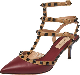Valentino Burgundy/Beige Leather Rockstud Pointed Toe Ankle Strap Sandals Size 37