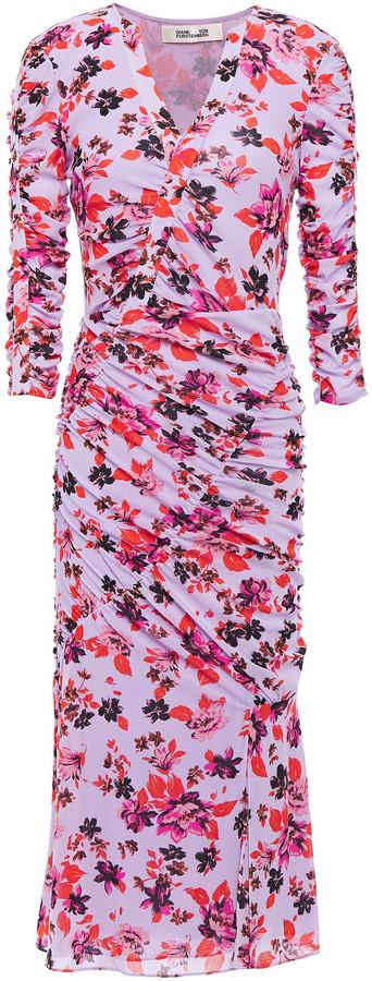 Diane von Furstenberg Brendon Ruched Floral-print Stretch-mesh Dress