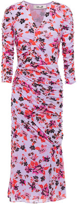 Diane von Furstenberg Brendon Ruched Floral-print Stretch-mesh Dress