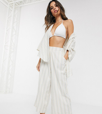 Zulu & Zephyr Exclusive beach wide leg culottes in blue stripe