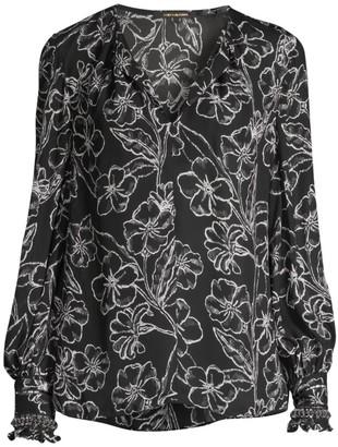 Kobi Halperin Kendrick Silk-Blend Floral Blouse