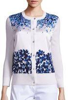 St. John Floral-Print Silk & Knit Cardigan
