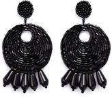 Kenneth Jay Lane Beaded gypsy hoop clip earrings