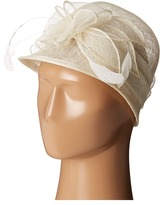 Scala Sinamay Cloche with Bow and Feathers Trim