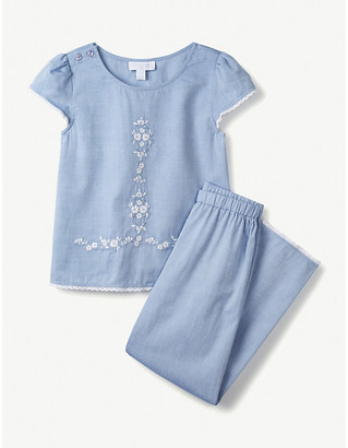 The Little White Company Embroidered cotton pyjama set 1-12 years