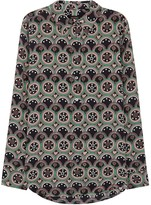 Kate Moss For Equipment Slim Signature Printed Washed Silk Shirt
